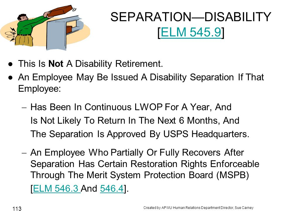 SEPARATION—DISABILITY [ELM 545.9]